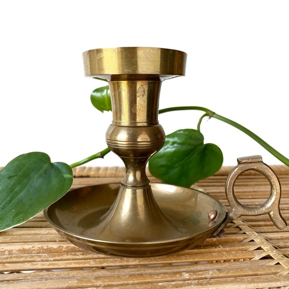 Round Vintage Brass Candle Holder with Handle
